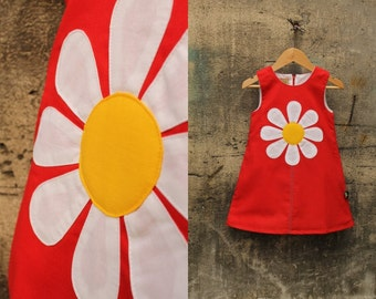 Red daisy dress for girls