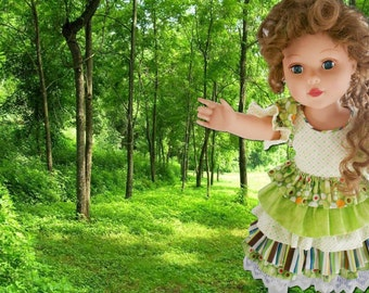 "Green dress for summer-18"" doll"