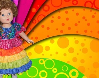 "Rainbow dress for 18"" doll"