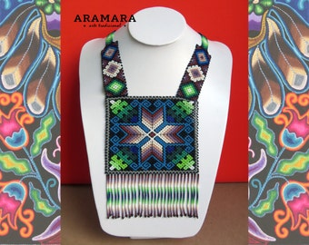 Mexican Huichol Beaded Chest Plate Necklace COG-0013 Mexican necklace - Mexican Jewelry - Huichol Necklace - Huichol beadwork