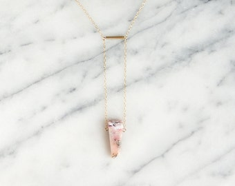 D A R A  ∙  pink raw opal lariat necklace