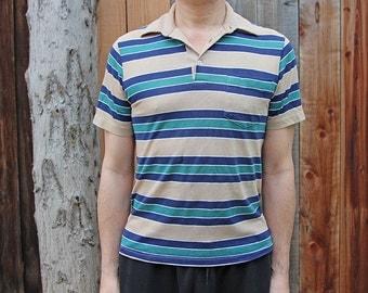 Vintage Tan Blue & Green Striped Polo Shirt