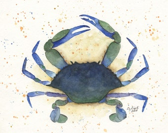 Florida Blue Crab Watercolor, Illustration, Print, Gift, Beach Art, Wall Art, Sea Life