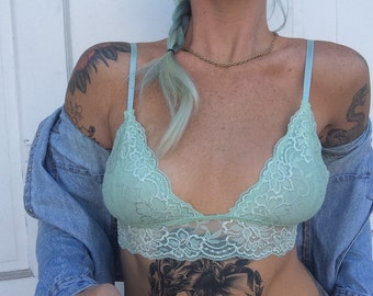The 'Jude' in Seafoam pastel green lace bralette soft bra