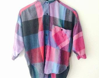 Vintage 1980s Purple Plaid Shirt, Cotton Shirt, Hi-Low Shirt, Fishtail, small
