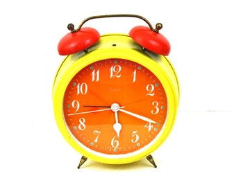 Vintage Sheffield Alarm Clock Large Yellow and Orange Mechanical  Clock Made in West Germany