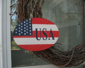 USA flag sign/plaque, Patriotic decor, wreath accessory, painted in red white and blue, 4th of July, Memorial day, Labor day Veteran's day