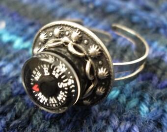 Mini Compass Ring - Metal Rivet Circle - Silver Tone