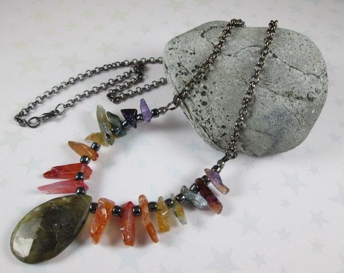 Agate & Labradorite Gradient Necklace - Rainbow