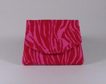 Pink Zebra Business Card Holder Purse Organizer Billfold Change Purse Cotton