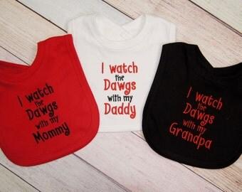 Georgia Bulldog Baby Bib - Georgia Bulldog Baby Boy - Embroidered Baby Bib - Dawg Fan - Dawg Baby Girl - Dawg Baby Boy -  I watch the Dawgs