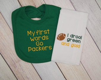 Green Bay Packers Baby Football Embroidered Set - Green Bay Packers Baby Girl - Green Bay Packers Baby Boy - Green Bay Packers Fan