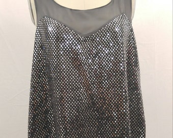 Chiffon Racer back Silver Sequin top