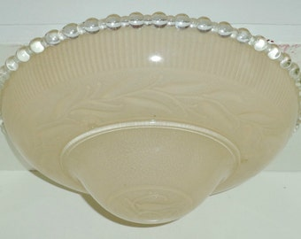 Antique Vintage Light Tan Leaf Pattern Candlewick 3 Chain Light Fixture Cover