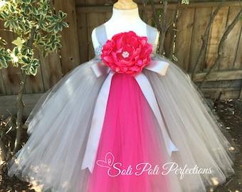 Grey Flower Girl Dress, Pink Flower Girl Dress, Grey and Pink Party Dress-Flower Girl Dress- Pink Tutu Dress, Grey Tutu Dress,