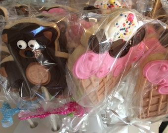 Teddy Bear and Ice Cream Cone Cookie Pops