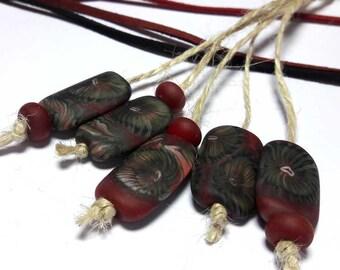 Lampwork Glass bead handmade Beads red, dark red, gray.