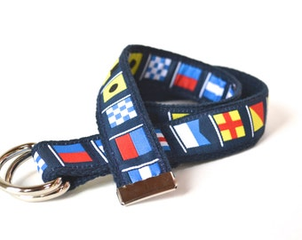 Toddler Boy Belt, Nautical Belt, Nautical Flags, Toddler Ribbon Belt, Adjustable with Cotton Webbing and D-Rings