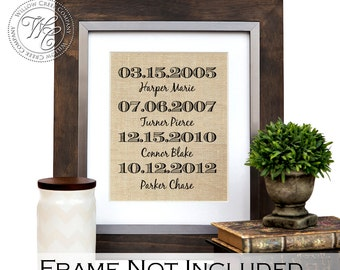 Personalized Burlap Wall Art, Family Name Sign, Burlap Print, Children's Names & Birth Dates