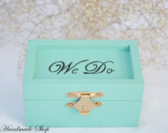 Wedding Ring Pillow, Mint Ring Bearer Pillow, We Do Ring Bearer Box
