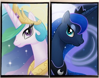 "Princess Luna and Celesta inspired 11x17"" Poster Print Set"