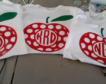 Apple Teacher or Student Vinyl Shirt with Monogram