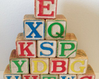 Vintage Large Wood Alphabet Toy Blocks