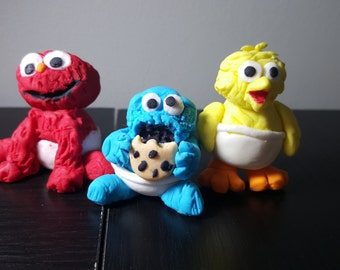 Sesame street babies - Elmo Cookie Monster Big bird cake decoration toppers made to order