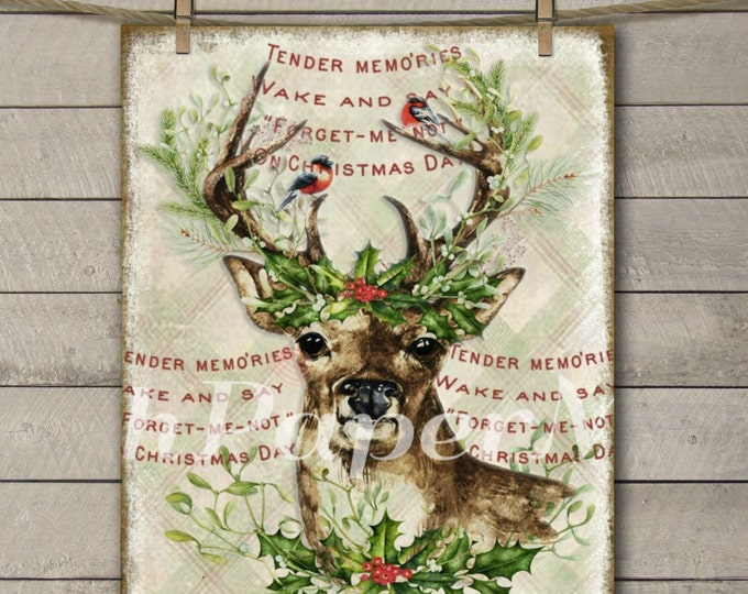 Instant Download Reindeer Print, Watercolor Reindeer with Christmas Wreath, Reindeer Printable, Vintage Christmas Graphics