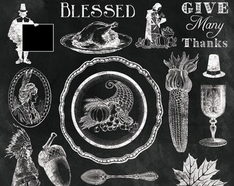 "Thanksgiving Clipart ""VINTAGE THANKSGIVING CHALK Clip Art"" 50 chalkboard, autum,turkey day, blessed, overlay, photographers, invitations"