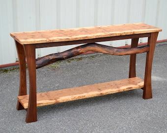 Live Edge Hickory Sofa Table
