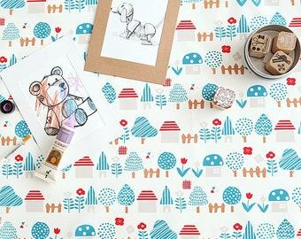 Waterproof cotton Fabrics PU coated waterproof vinyl fabric by the yard oilcloth wide 150 cm_Town_CH978037