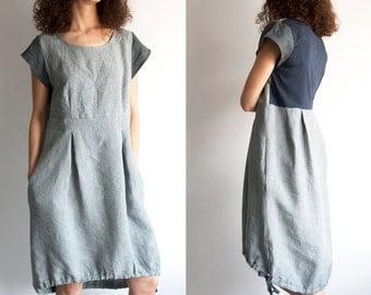 Linen dress, asymmetrical dress, grey sun dress, summer dress, linen women clothes, dress with pockets, short sleeve dress