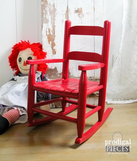 Child Red Rocking Chair ~ Vintage wooden slat red child s kids rocking chair
