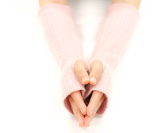 Eco Friendly Cashmere Fingerless Gloves, Warm Gloves, Soft Felted Cashmere, Handmade Gloves, Texting Gloves, Arm Warmers, Soft Pink Cable