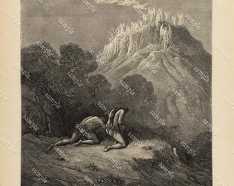 Antique Original Biblical Print by Gustavo Dore From Rare Milton's Paradise Lost -   The Heavenly Bands down from a Sky of Jasper