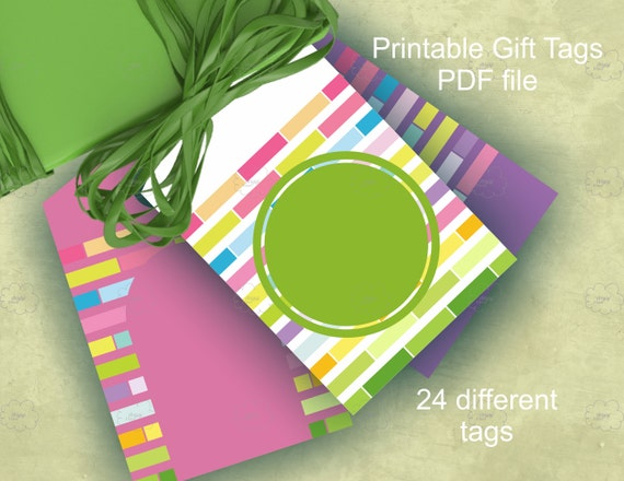 Colorful blank gift tags templates for spring gifts, crafts wrapping, printable DIY gift tags, Word template download