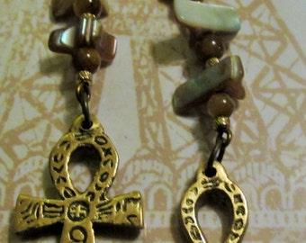 Brown & Beige Beaded Dangle Ankh Earrings
