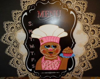 Gingerbread Chalk Board Wall Hanging, Chalk Board Decor, Gingerbread Decor, Wall Decor, Cupcake Decor,