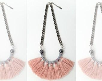 Tassels necklace, pink fringe necklace, rose quartz necklace, fan necklace, tribal necklace, fringe statement necklace.