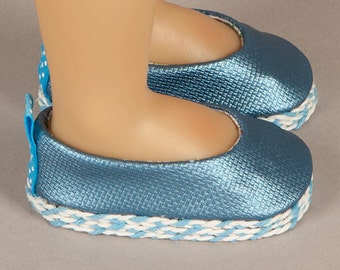 Handmade Shoes - Blue Metallic Faux Leather Ballet Flats - Fits Kidz  N Cats Dolls