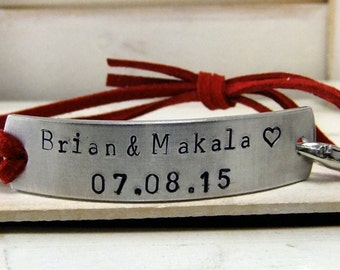 Hand Stamped Bracelet, Personalized Bracelet, Adjustable Bracelet, Leather Bracelet, Red Leather Bracelet, His and Hers Bracelet