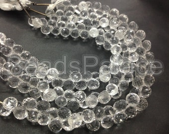 Crystal onion shape cutting Briolettes, 6 or 7 mm, 25 pieces      AAA quality