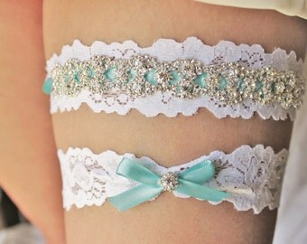 Blue Garter, Something Blue Garter Blue Garder Garderbelt White Garter Set White Blue Wedding Accessory Plus Size Garter