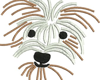 a dog embroidery design , mutt , Rescue dog, Shaggy dog