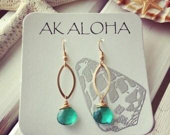 Emerald Green Earrings, Emerald Earrings, Gold Earrings,Gemstone Earrings