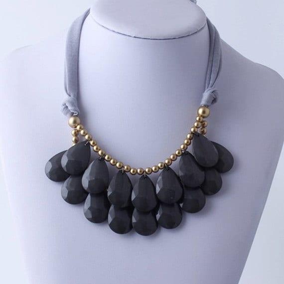 anthropologie gray necklace bib necklace gray statement