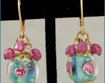 Vintage Venetian Hand Blown Art Glass Beaded Pierced Earrings