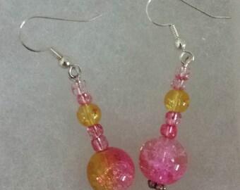 Raspberry lemonade handmade dangle earrings