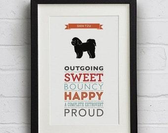 SALE 25% Off Shih Tzu Dog Breed Traits Print - Great Gift for Shih Tzu Lovers!